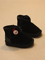 Girl's Boots Winter Comfort Suede Casual Flat Heel Black Pink