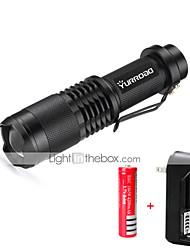 Ручные фонарики LED 3000 lumens Люмен 5 Режим Cree XM-L T6 баттаеря 1 x 18650 Мини Фокусировка Ударопрочный Нескользящий захват ударный