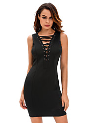 Women's Black Lace Up Sleeveless Dress