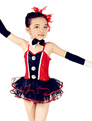 Ballet Dresses Children's Performance Spandex / Polyester / Organza / Sequined Bow(s) / Paillettes / Sequins / Tiers 5 Pieces Sleeveless