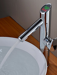 Contemporary Constant Temperature Digital Display Temperature Brass Bathroom Sink Faucet
