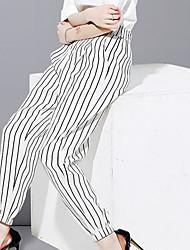Feminino Solto Harém Chinos Calças-Listrado Casual Simples Cintura Média Elasticidade Linho Raiom Poliéster Inelástico Outono