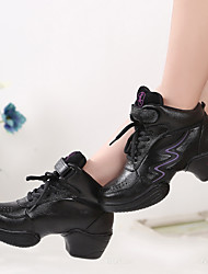 Non Customizable Women's Dance Shoes Leather Leather Jazz / Modern Sneakers Chunky Heel Practice Black
