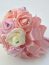 """Fleurs de mariage Rond Roses Bouquets Mariage La Fête / soirée Satin Mousse 7.09""""(Env.18cm)"""