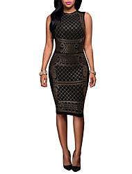 Women's Casual/Daily / Club Vintage / Street chic Bodycon DressPatchwork Hot Fix Rhinestone Round Neck Knee-length Sleeveless