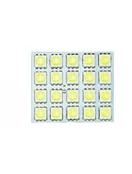 2x белый 5050 привело 20 SMD панель на карте купол внутреннего освещения + гирлянда адаптер T10 BA9S
