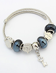 European Style Fashion Beaded Key Charm Bracelet Daily Jewelry Gift Silver