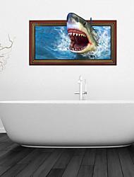 Etiquetas engomadas de la pared de la pared 3d, tiburón baño decoración mural de pvc pegatinas de pared