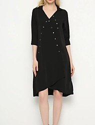 Women's Going out Simple / Cute A Line Dress,Solid V Neck Knee-length Long Sleeve White / Black Rayon / Polyester Fall / Winter Low Rise
