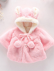 Girl's Fashion Imitation Fur Spring/Fall/Winter Going out/Daily Long Sleeve Down & Cotton Padded Warm Thickness Children Coat