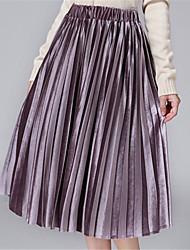 Spring and autumn women's swing solid color skirt leisure street skirt long Stripe skirt