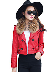 Women's Casual/Daily Punk & Gothic Leather Jackets,Solid Shirt Collar Long Sleeve Winter Red / Black Special Leather Types Medium