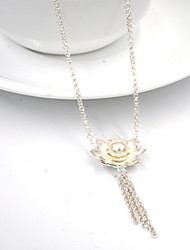 Women's Pendant Necklaces Flower Pearl Sterling Silver Flower Style European Silver Jewelry For Daily Casual 1pc