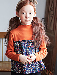 Girl Casual/Daily Patchwork Blouse,Cotton Spring Fall Long Sleeve