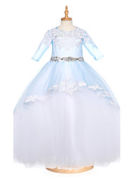 Ball Gown Floor Length Flower Girl Dress - Tulle Half Sleeves Jewel Neck with Beading