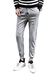 Masculino Tamanhos Grandes Delgado Skinny Chinos Calças Esportivas Calças-Cor Única Casual Esportivo Simples Moda de Rua ActivoCintura