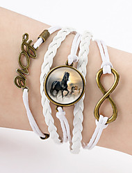 Bracelet Charm Bracelet / Leather Bracelet / Wrap Bracelet Leather Love / Infinity / Horse Friendship / Double-layer Casual Jewelry Gift