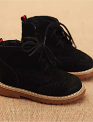 Boy's Boots Winter Comfort Cowhide Casual Flat Heel Black