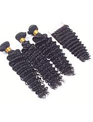 6A 3pcs 50g Black Loose Deep Wave plus Closure Human Hair Weaves Peruvian Texture Human Hair Extensions