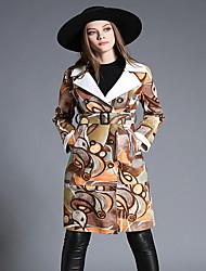 Women's Casual/Daily Cute Coat,Print Shirt Collar Long Sleeve Winter Gray / Yellow Special Leather Types