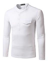 Herren Solide Einfach Lässig/Alltäglich T-shirt,Rundhalsausschnitt Winter Langarm Schwarz Baumwolle Dick