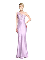 Mermaid / Trumpet One Shoulder Floor Length Lace Satin Bridesmaid Dress with Lace by LAN TING BRIDE®