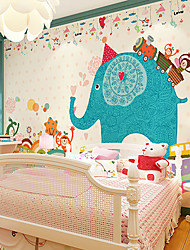 JAMMORY Art DecoWallpaper For Home Wall Covering Canvas Adhesive required Mural Children's Room Cartoon Elephant XL XXL XXXL