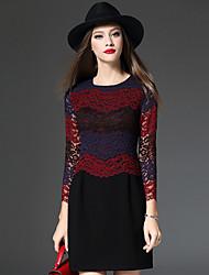 Feminino Bainha Vestido,Casual Simples Estampa Colorida Decote Redondo Acima do Joelho Manga ¾ Algodão Poliéster Outono InvernoCintura