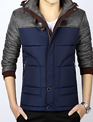 Men's Regular Padded Coat,Simple Cute Street chic Plus Size Casual/Daily Solid-Polyester Cotton Long Sleeve Hooded Blue Black