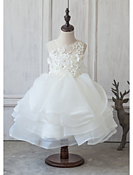 Princess Knee-length Flower Girl Dress - Organza Satin Tulle Jewel with Beading Appliques Bow(s) Flower(s) Lace