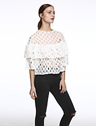 Women's Ruffle|Flare Sleeve Casual/Daily Cute Summer T-shirt,Solid Round Neck ¾ Sleeve White Others Translucent