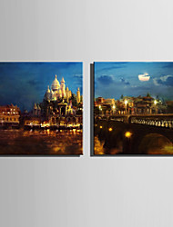 E-HOME® Stretched LED Canvas Print Art Castle Night LED Flashing Optical Fiber Print Set of 2