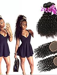 Trame cheveux avec fermeture Cheveux Malaisiens Très Frisé 6 Mois 4 Pièces tissages de cheveux