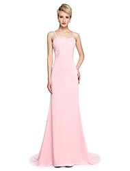 2017 Lanting Bride® Court Train Jersey Elegant Bridesmaid Dress - Trumpet / Mermaid Spaghetti Straps with Appliques