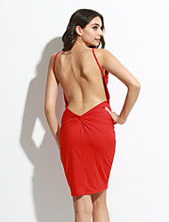Women's Knotted Open Back Bodycon Midi Dress