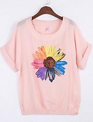 Damen Blumen Einfach Ausgehen / Lässig/Alltäglich T-shirt,Rundhalsausschnitt Sommer Kurzarm Rosa / Rot / Weiß Baumwolle Mittel