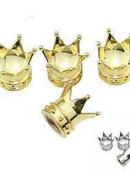 pneu de voiture de luxe impérial couronner cuivre vannes bouchon de décoration (4 pièces par paquet)