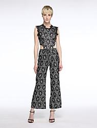 Women's Patchwork Lace Wide Leg Sexy Slim Elegance Jumpsuits,Vintage / Street chic Round Neck Sleeveless