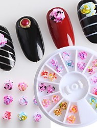 1pcs Blooming Dyed Resin Rose Nail Jewelry