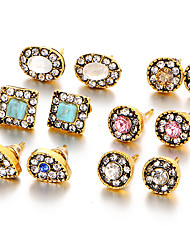 6 PCS/Set Vintage Fashion Crystal Gold Color Stud Earrings Turquoise Wedding Earring For Women Party Jewelry 2017 Brinco