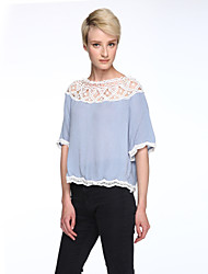 Women's Flare Sleeve Going out Simple Summer Blouse Patchwork Lace Hollow Out Boat Neck ½ Length Sleeve