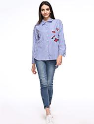 Feminino Camisa Social Casual / Tamanhos Grandes Simples Outono,Bordado Azul Algodão Colarinho de Camisa Manga Longa