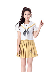 Japan School Uniform Dress Sailor Girl Lady Lolita Cheering Squad Costumes Solid Top / Skirt