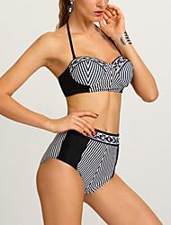 Bikinis Aux femmes Taille Haute Licou Nylon Polyester