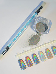 1g/Box Holographic Nail Art Rainbow Laser Glitter Powders with Brush Decoration