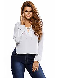 Women's White Lace Up Side Split Plunge Blouse
