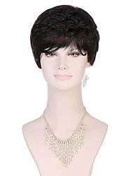 6A Synthetic Cosplay Wigs Women's Short Straight Black/Medium Brown Wig Heat Resistant Fiber Wig