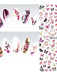 2pcs Nail Art Water Transfer Nails Sticker Fresh Colored Butterfly Design Watermark Warps Fingernails Decals