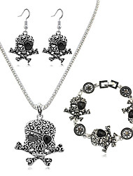 Women's Jewelry Set Fashion European Costume Jewelry Resin Alloy Skull / Skeleton 1 Necklace 1 Pair of Earrings 1 Bracelet For Daily