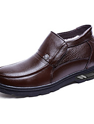 Men's Loafers & Slip-Ons Spring / Fall Comfort Leather Casual Flat Heel Slip-on Black / Brown Sneaker
